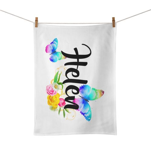 Personalised Beautiful Butterflies & Flowers Novelty Gift Tea Towel